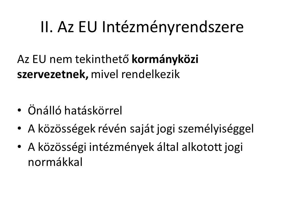 II. Az EU Intézményrendszere