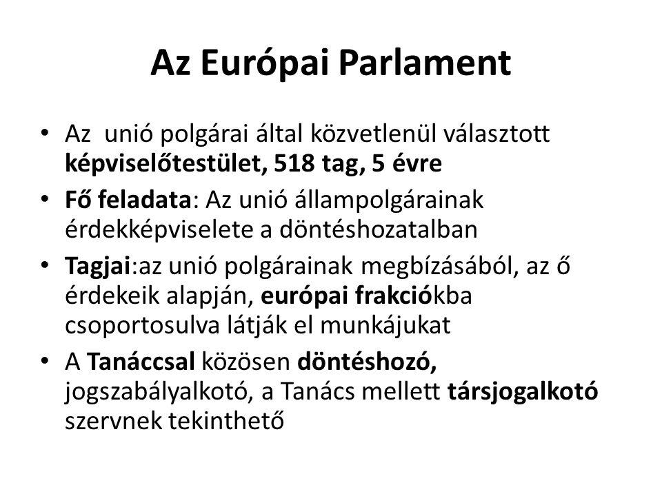 Az Európai Parlament Az unió polgárai által közvetlenül választott képviselőtestület, 518 tag, 5 évre.