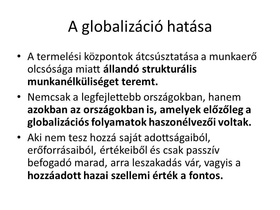 A globalizáció hatása A termelési központok átcsúsztatása a munkaerő olcsósága miatt állandó strukturális munkanélküliséget teremt.