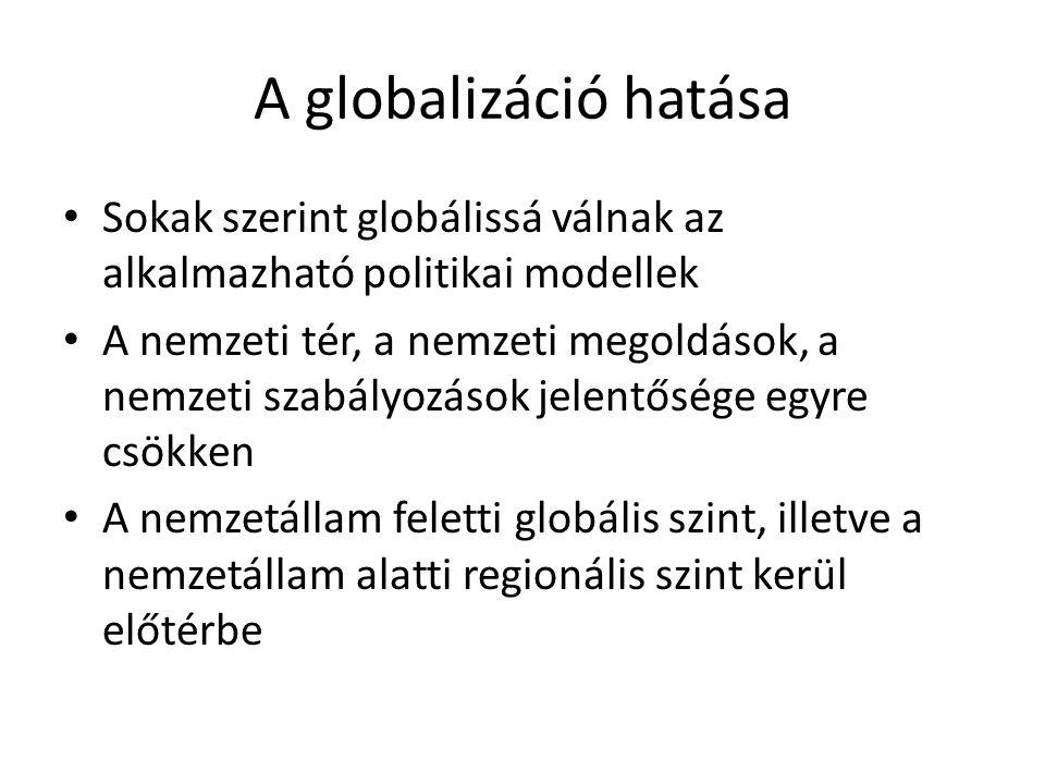 A globalizáció hatása Sokak szerint globálissá válnak az alkalmazható politikai modellek.