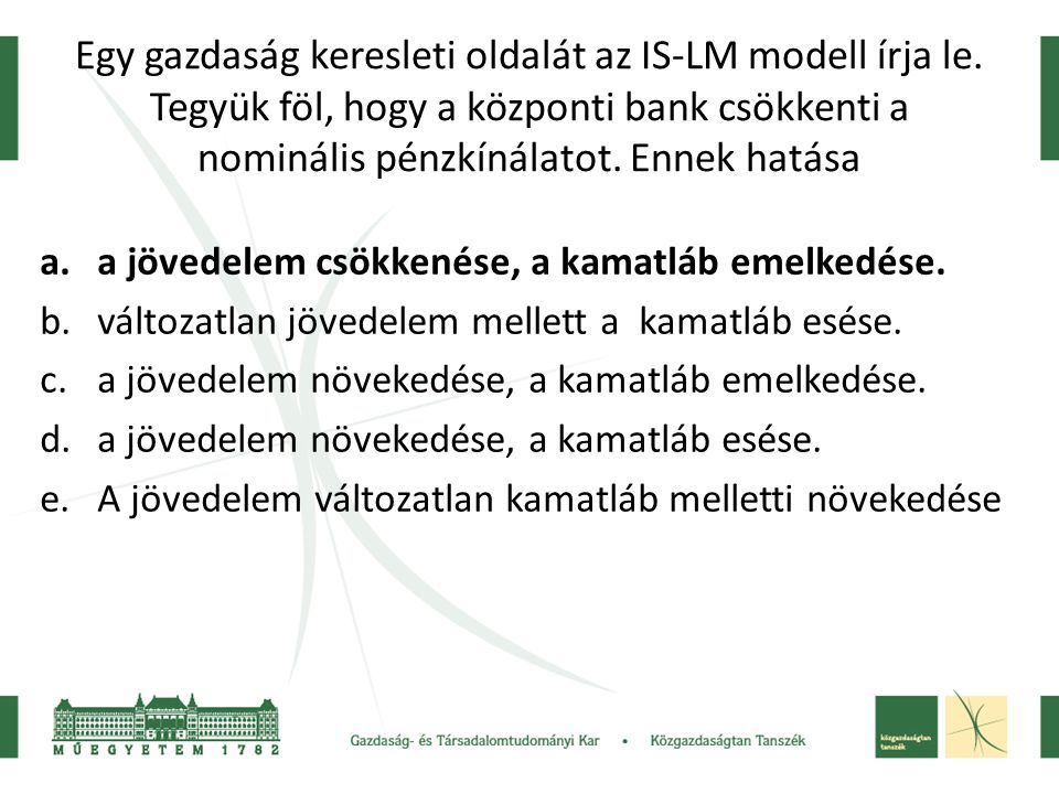 Egy gazdaság keresleti oldalát az IS-LM modell írja le