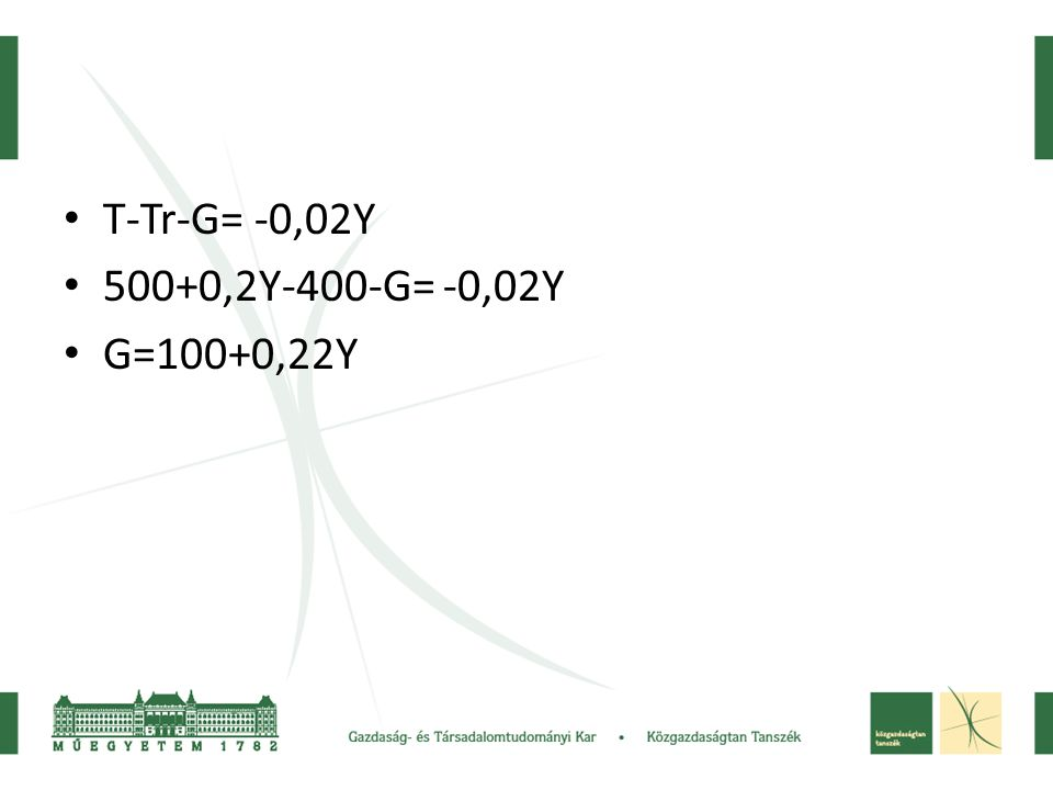 T-Tr-G= -0,02Y 500+0,2Y-400-G= -0,02Y G=100+0,22Y