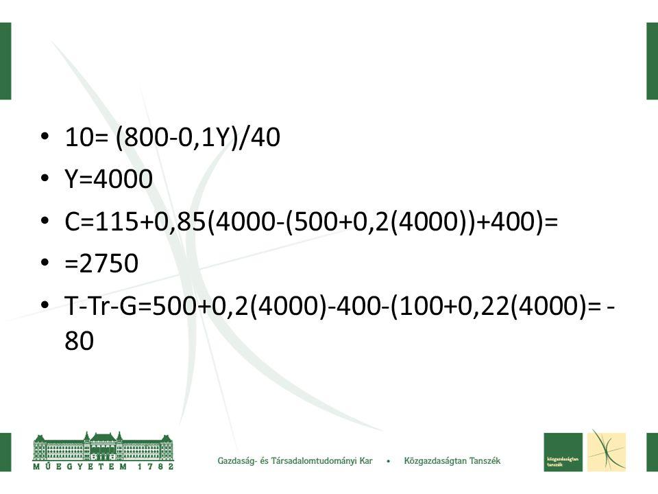 10= (800-0,1Y)/40 Y=4000. C=115+0,85(4000-(500+0,2(4000))+400)= =2750.