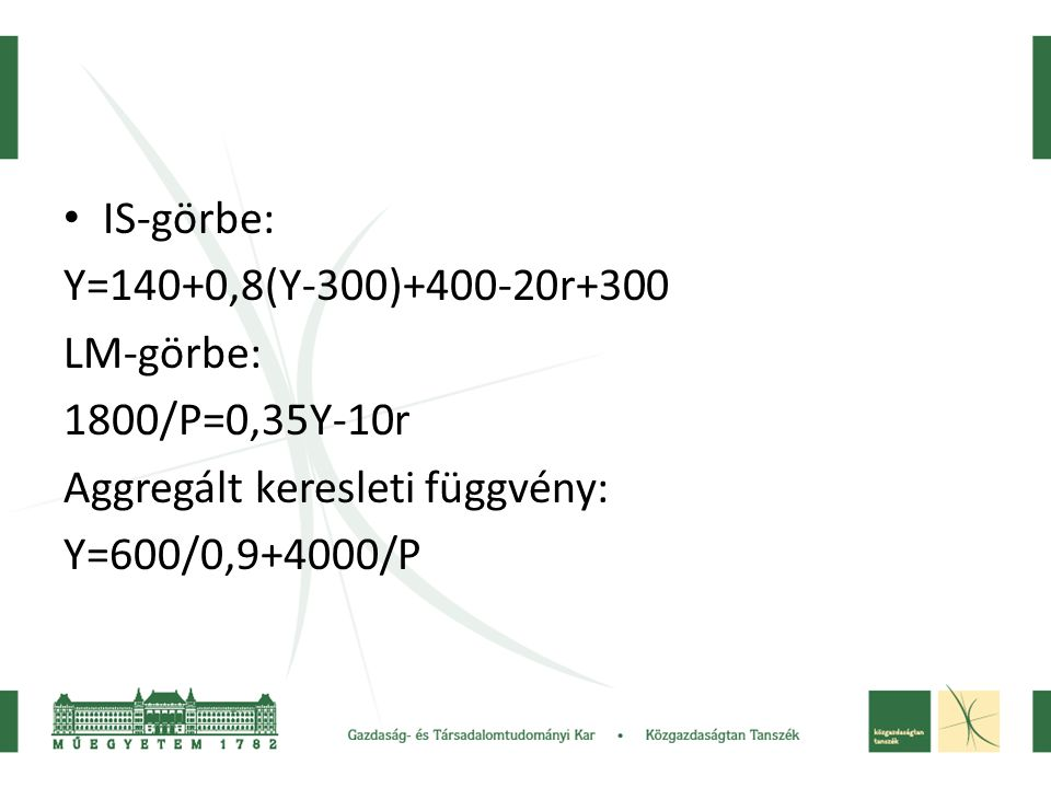 IS-görbe: Y=140+0,8(Y-300)+400-20r+300. LM-görbe: 1800/P=0,35Y-10r. Aggregált keresleti függvény: