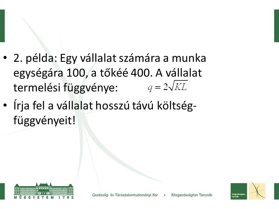 2. példa: Egy vállalat számára a munka egységára 100, a tőkéé 400