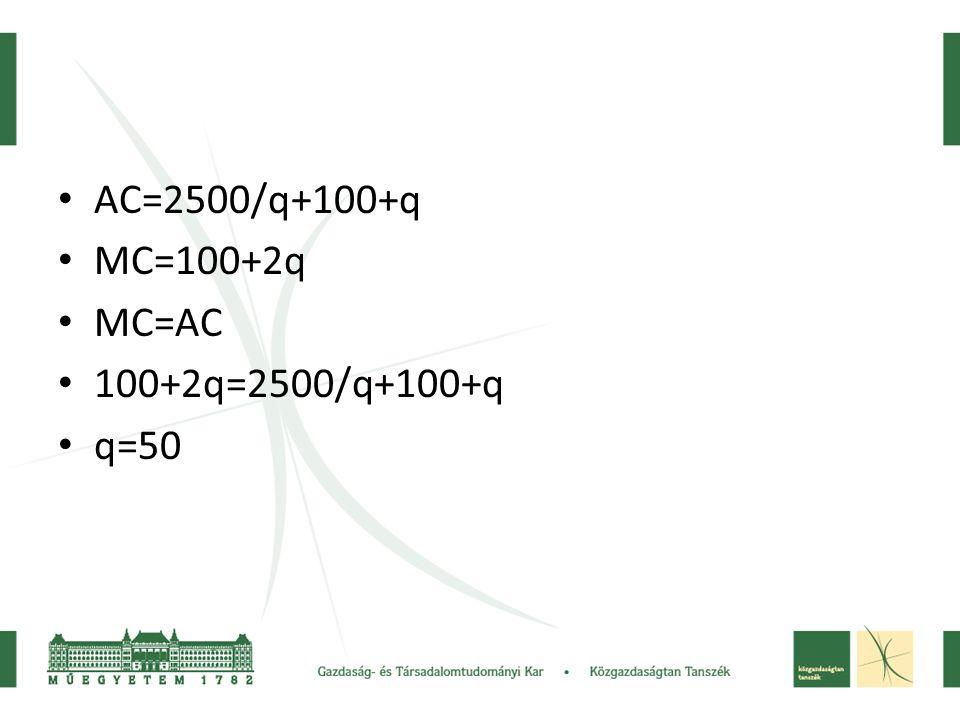 AC=2500/q+100+q MC=100+2q MC=AC 100+2q=2500/q+100+q q=50