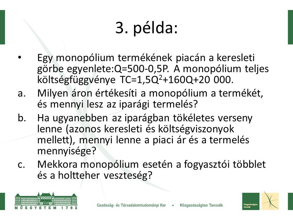 3. példa: Egy monopólium termékének piacán a keresleti görbe egyenlete:Q=500-0,5P. A monopólium teljes költségfüggvénye TC=1,5Q2+160Q+20 000.