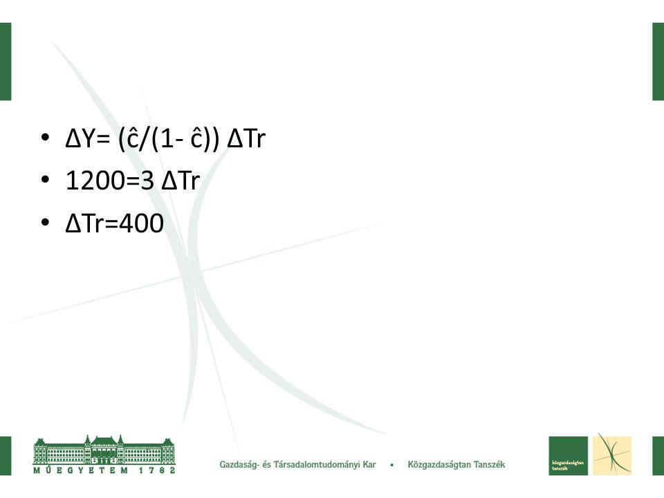 ΔY= (ĉ/(1- ĉ)) ΔTr 1200=3 ΔTr ΔTr=400