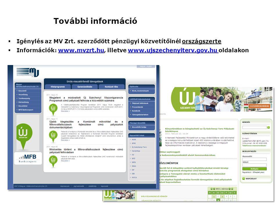 További információ Igénylés az MV Zrt. szerződött pénzügyi közvetítőinél országszerte.