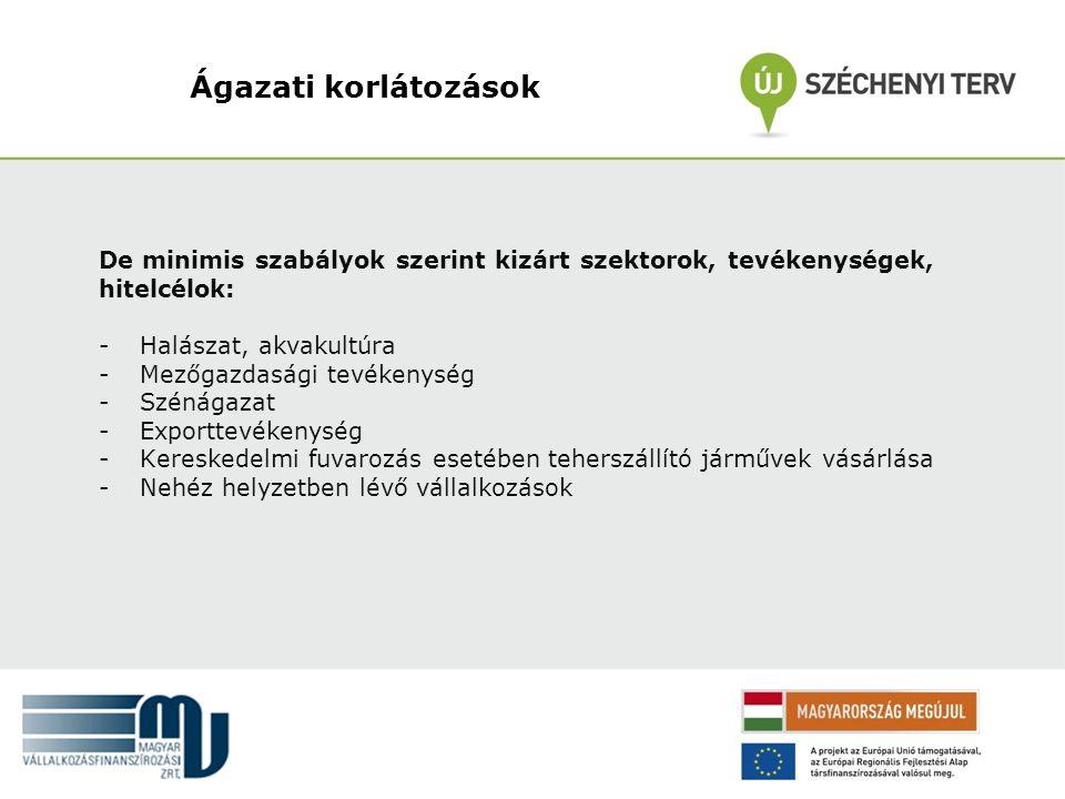 Ágazati korlátozások De minimis szabályok szerint kizárt szektorok, tevékenységek, hitelcélok: Halászat, akvakultúra.