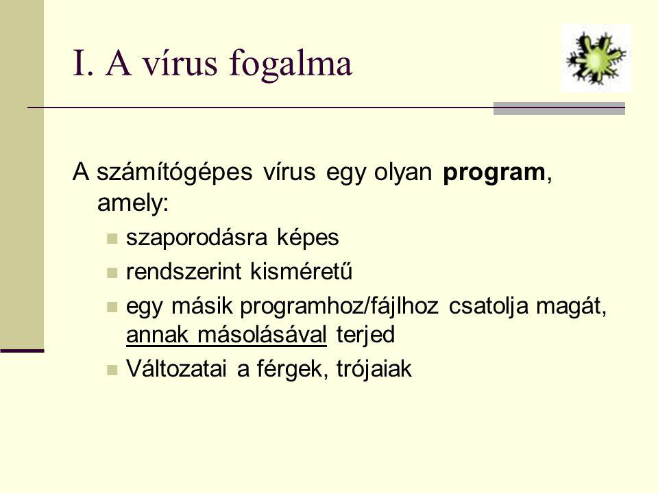 I. A vírus fogalma A számítógépes vírus egy olyan program, amely: