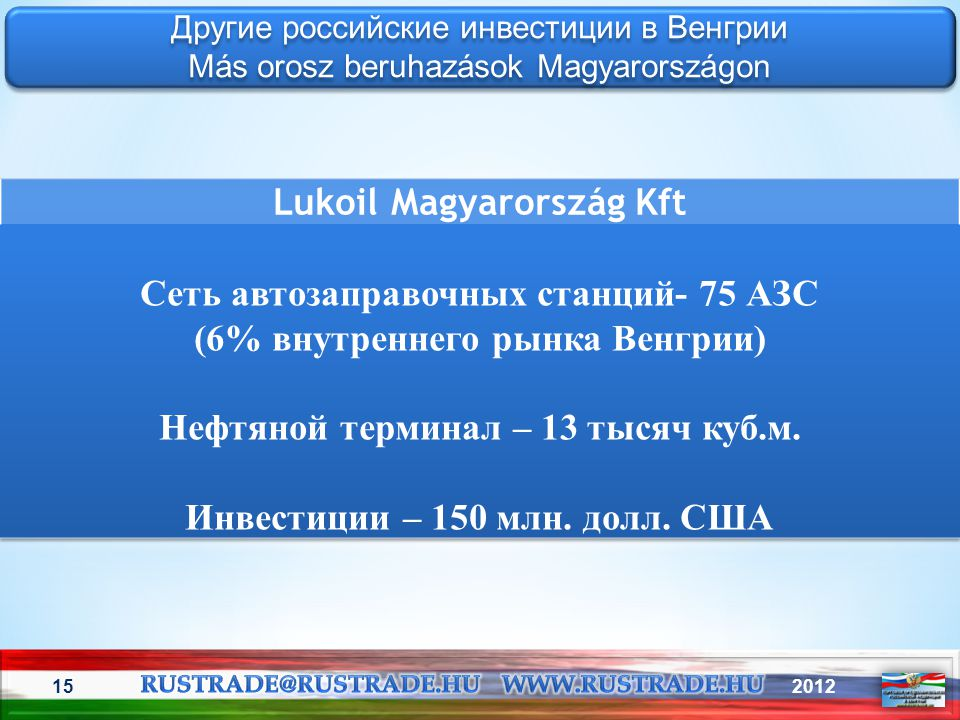 Lukoil Magyarország Kft Сеть автозаправочных станций- 75 АЗС