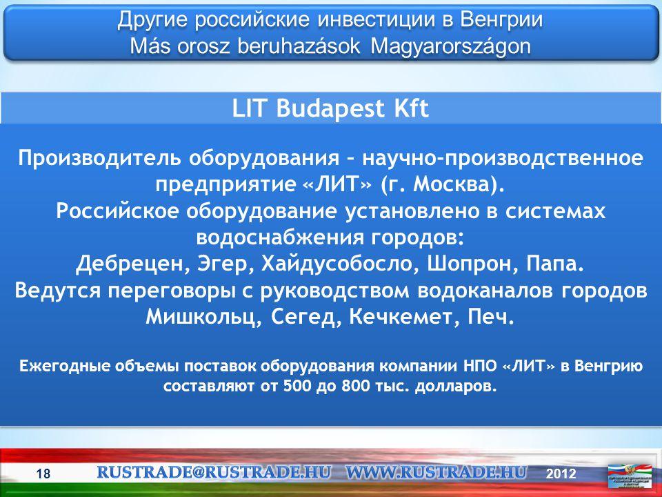 LIT Budapest Kft Другие российские инвестиции в Венгрии