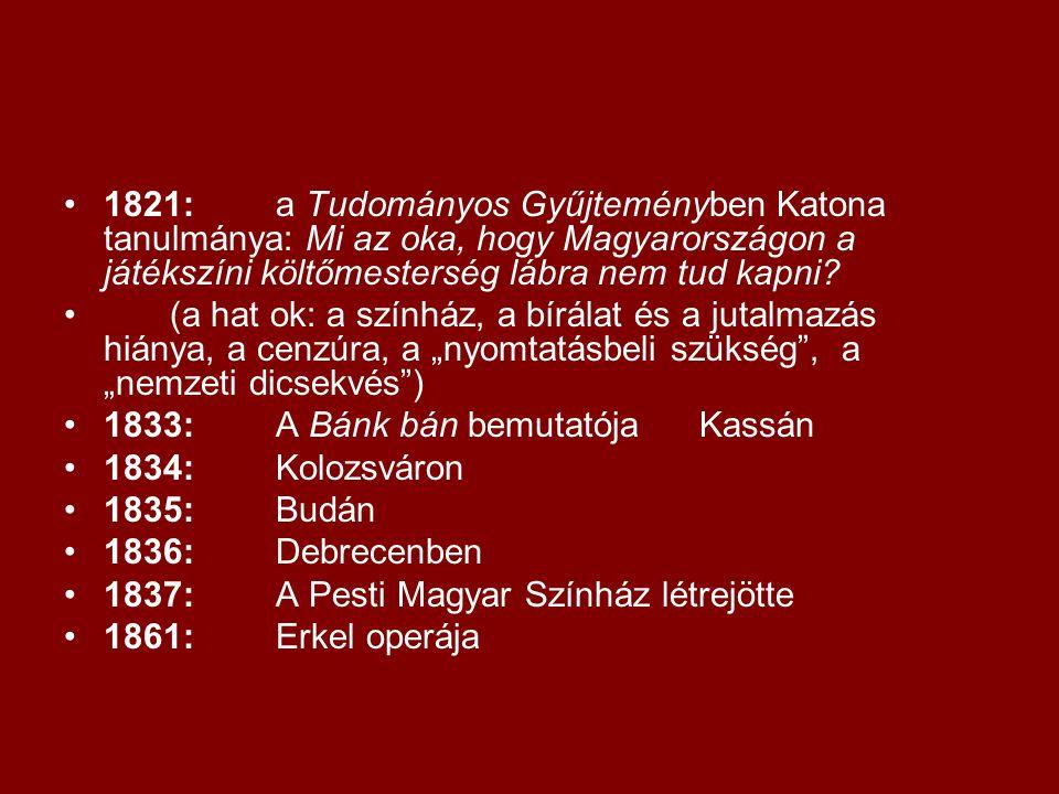 1821: a Tudományos Gyűjteményben Katona tanulmánya: Mi az oka, hogy Magyarországon a játékszíni költőmesterség lábra nem tud kapni