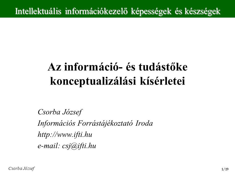Az információ- és tudástőke konceptualizálási kísérletei