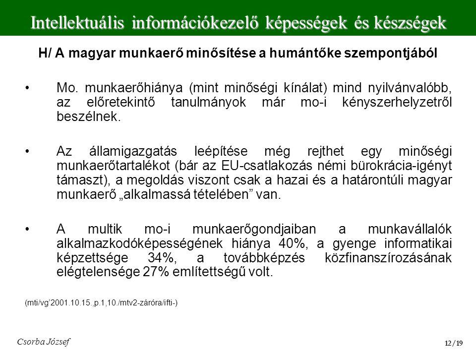 H/ A magyar munkaerő minősítése a humántőke szempontjából