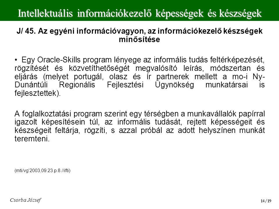 J/ 45. Az egyéni információvagyon, az információkezelő készségek minősítése