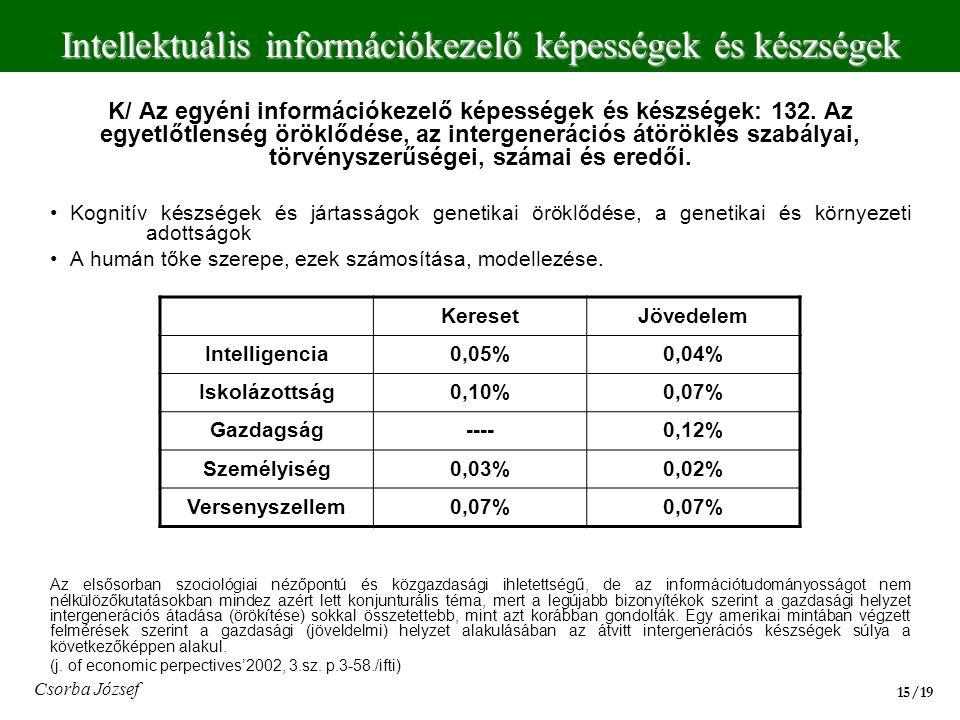 K/ Az egyéni információkezelő képességek és készségek: 132