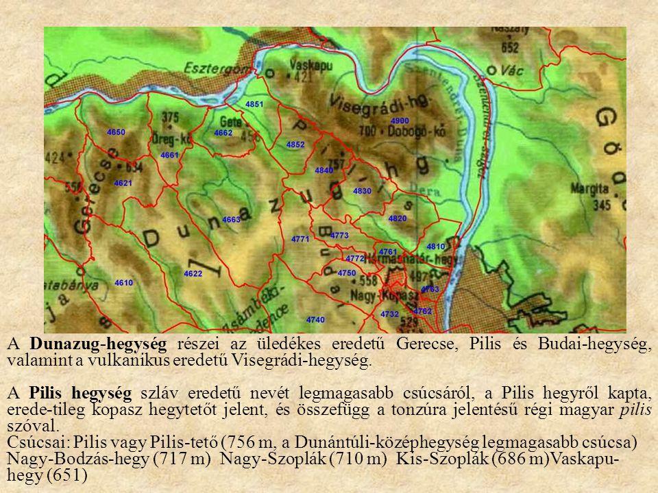 A Dunazug-hegység részei az üledékes eredetű Gerecse, Pilis és Budai-hegység, valamint a vulkanikus eredetű Visegrádi-hegység.