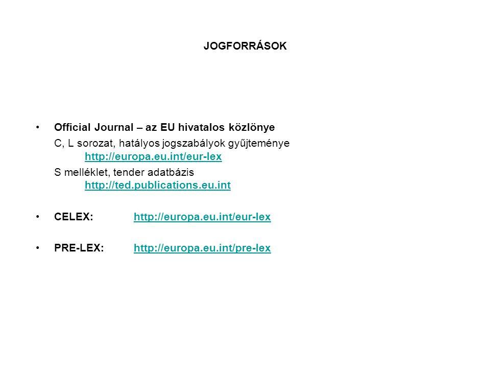 JOGFORRÁSOK Official Journal – az EU hivatalos közlönye. C, L sorozat, hatályos jogszabályok gyűjteménye http://europa.eu.int/eur-lex.