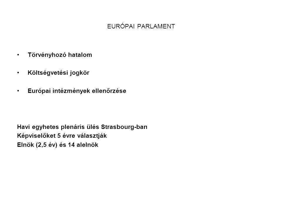 EURÓPAI PARLAMENT Törvényhozó hatalom. Költségvetési jogkör. Európai intézmények ellenőrzése. Havi egyhetes plenáris ülés Strasbourg-ban.