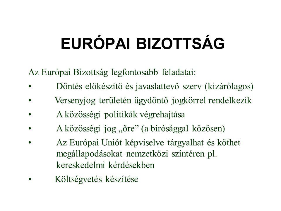 EURÓPAI BIZOTTSÁG Az Európai Bizottság legfontosabb feladatai: