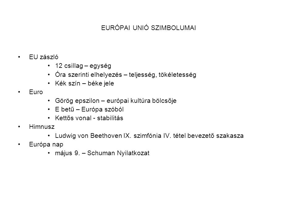 EURÓPAI UNIÓ SZIMBOLUMAI