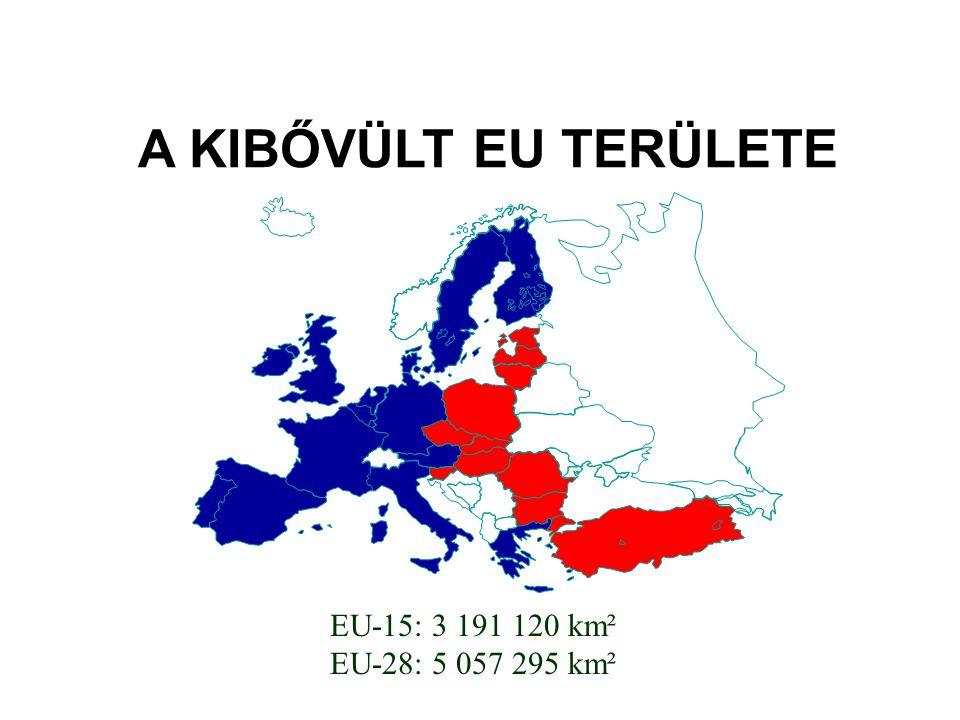 A KIBŐVÜLT EU TERÜLETE EU-15: 3 191 120 km² EU-28: 5 057 295 km²