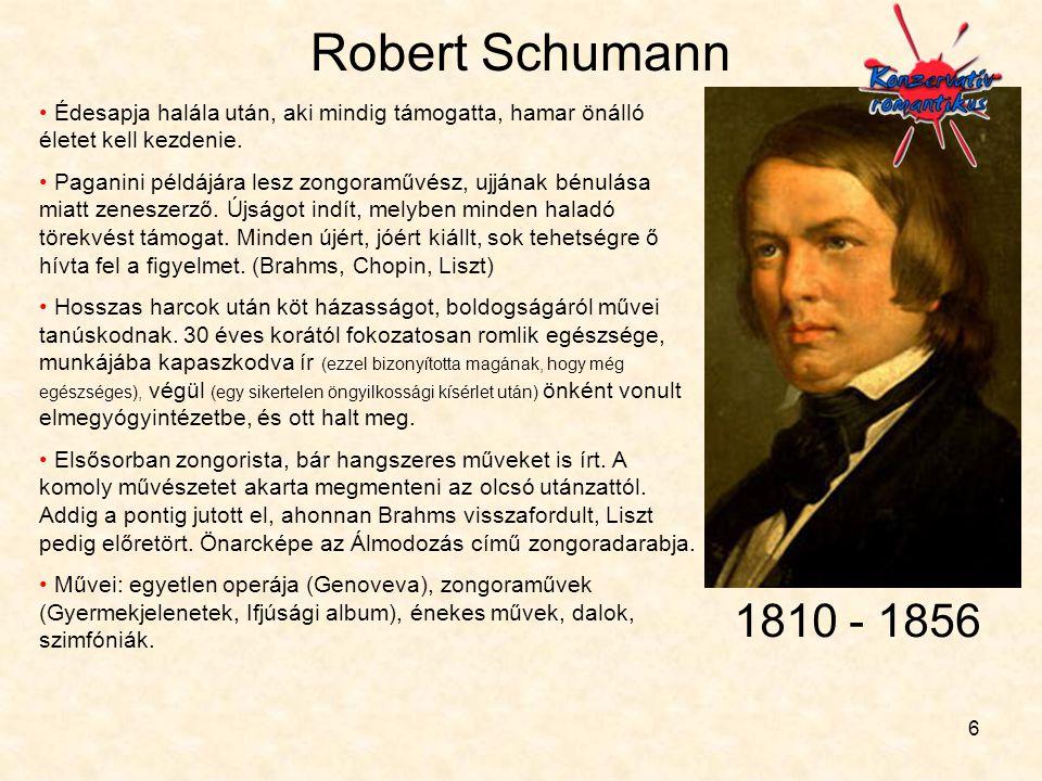 Robert Schumann Édesapja halála után, aki mindig támogatta, hamar önálló életet kell kezdenie.
