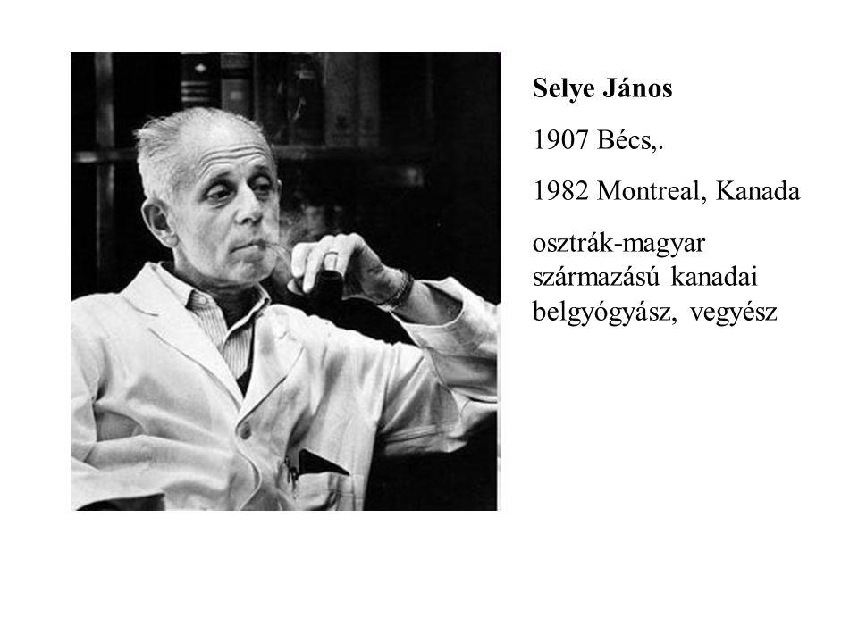 Selye János 1907 Bécs,. 1982 Montreal, Kanada.