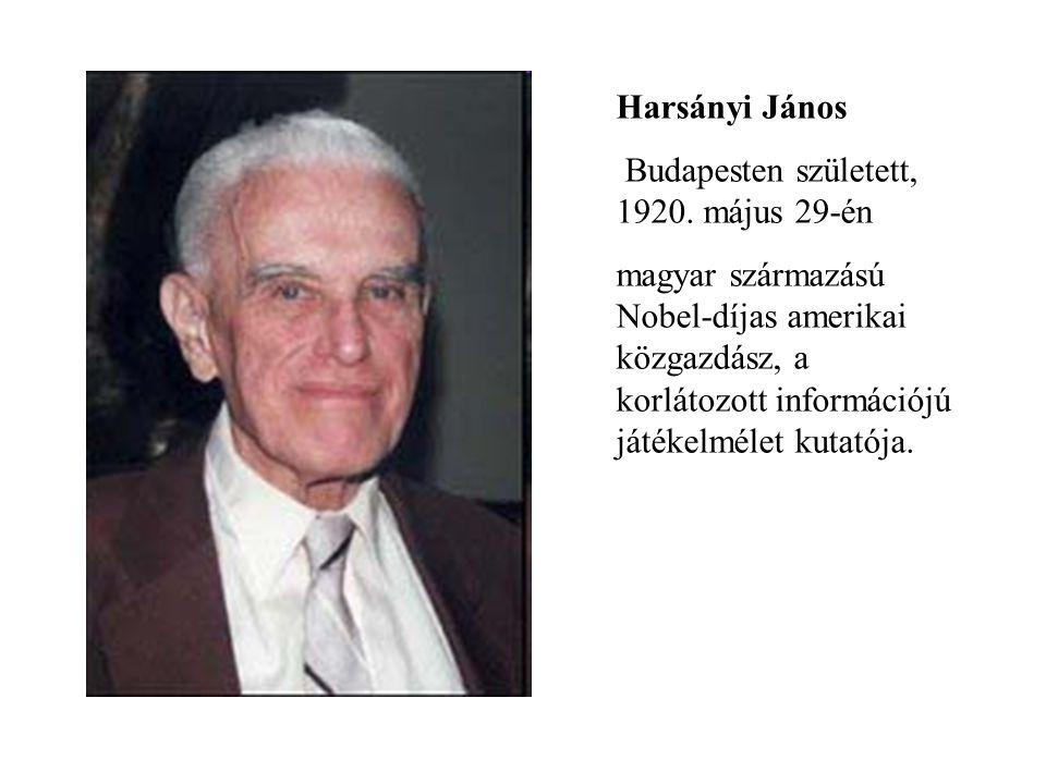 Harsányi János Budapesten született, 1920. május 29-én.