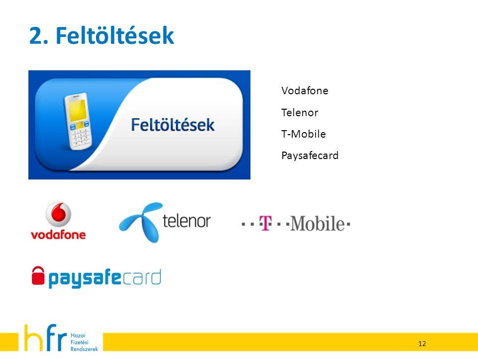 2. Feltöltések Vodafone Telenor T-Mobile Paysafecard