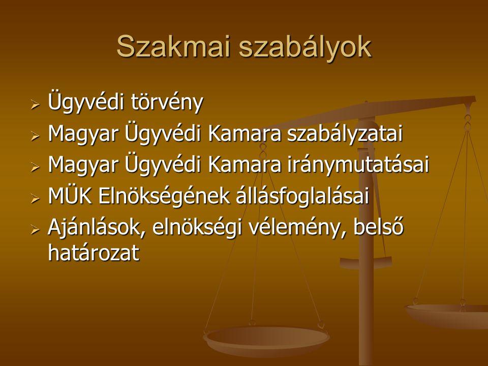 Szakmai szabályok Ügyvédi törvény Magyar Ügyvédi Kamara szabályzatai