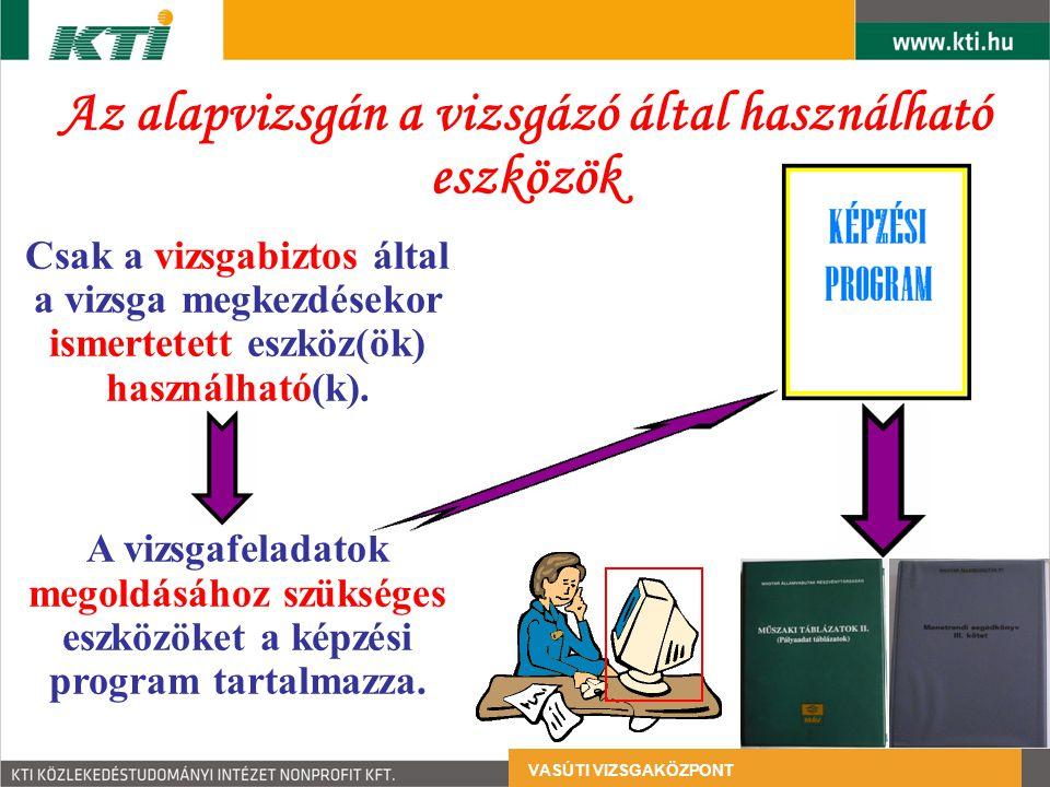 Az alapvizsgán a vizsgázó által használható eszközök