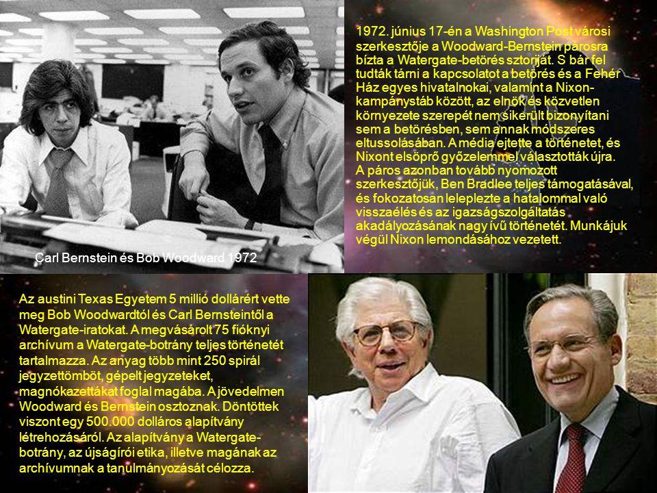 1972. június 17-én a Washington Post városi szerkesztője a Woodward-Bernstein párosra bízta a Watergate-betörés sztoriját. S bár fel tudták tárni a kapcsolatot a betörés és a Fehér Ház egyes hivatalnokai, valamint a Nixon-kampánystáb között, az elnök és közvetlen környezete szerepét nem sikerült bizonyítani sem a betörésben, sem annak módszeres eltussolásában. A média ejtette a történetet, és Nixont elsöprő győzelemmel választották újra. A páros azonban tovább nyomozott szerkesztőjük, Ben Bradlee teljes támogatásával, és fokozatosan leleplezte a hatalommal való visszaélés és az igazságszolgáltatás akadályozásának nagy ívű történetét. Munkájuk végül Nixon lemondásához vezetett.
