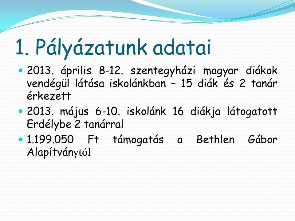 1. Pályázatunk adatai 2013. április 8-12. szentegyházi magyar diákok vendégül látása iskolánkban – 15 diák és 2 tanár érkezett.