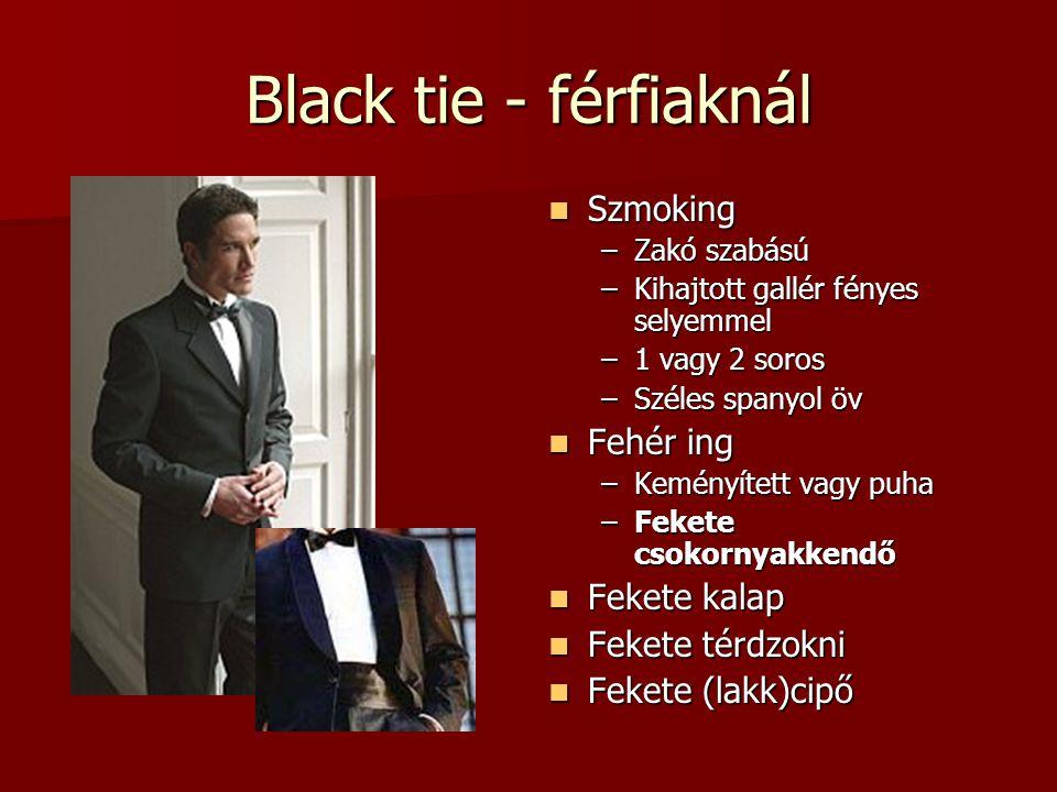 Black tie - férfiaknál Szmoking Fehér ing Fekete kalap