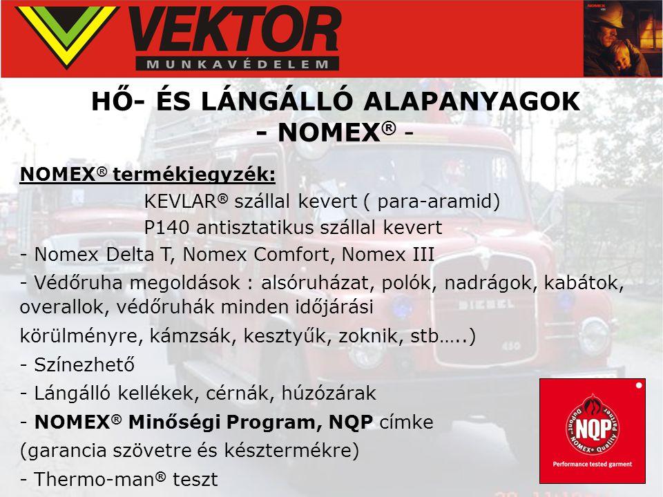 HŐ- ÉS LÁNGÁLLÓ ALAPANYAGOK - NOMEX® -