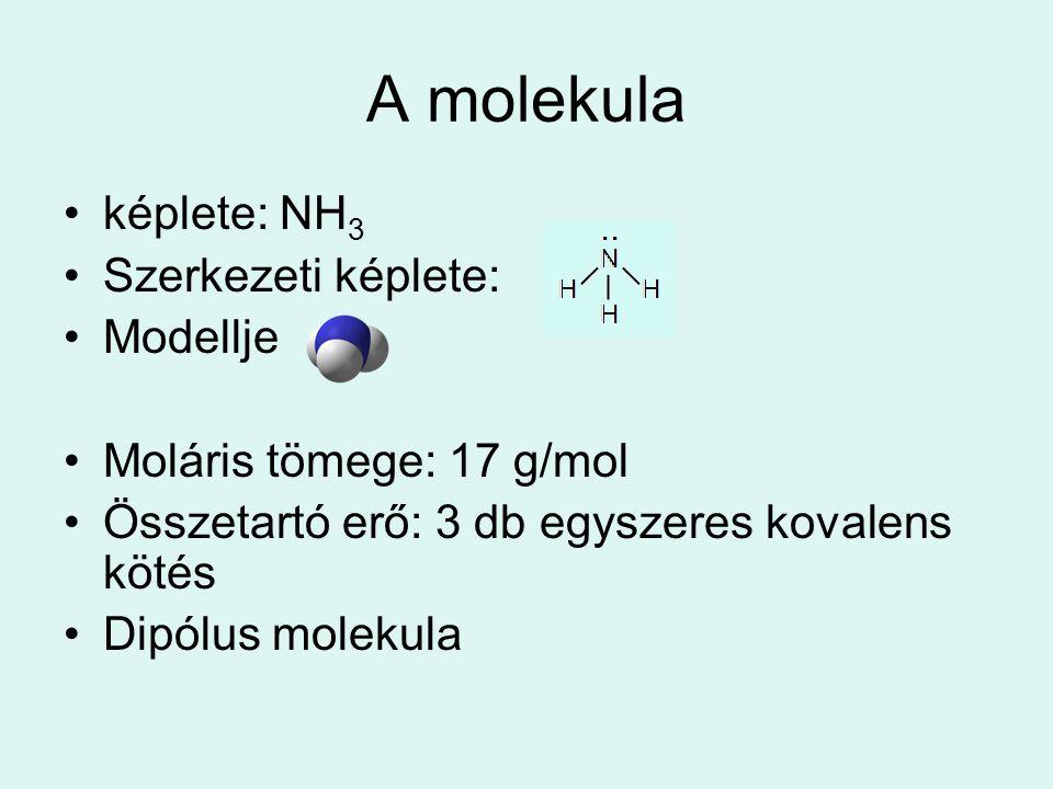 A molekula képlete: NH3 Szerkezeti képlete: Modellje