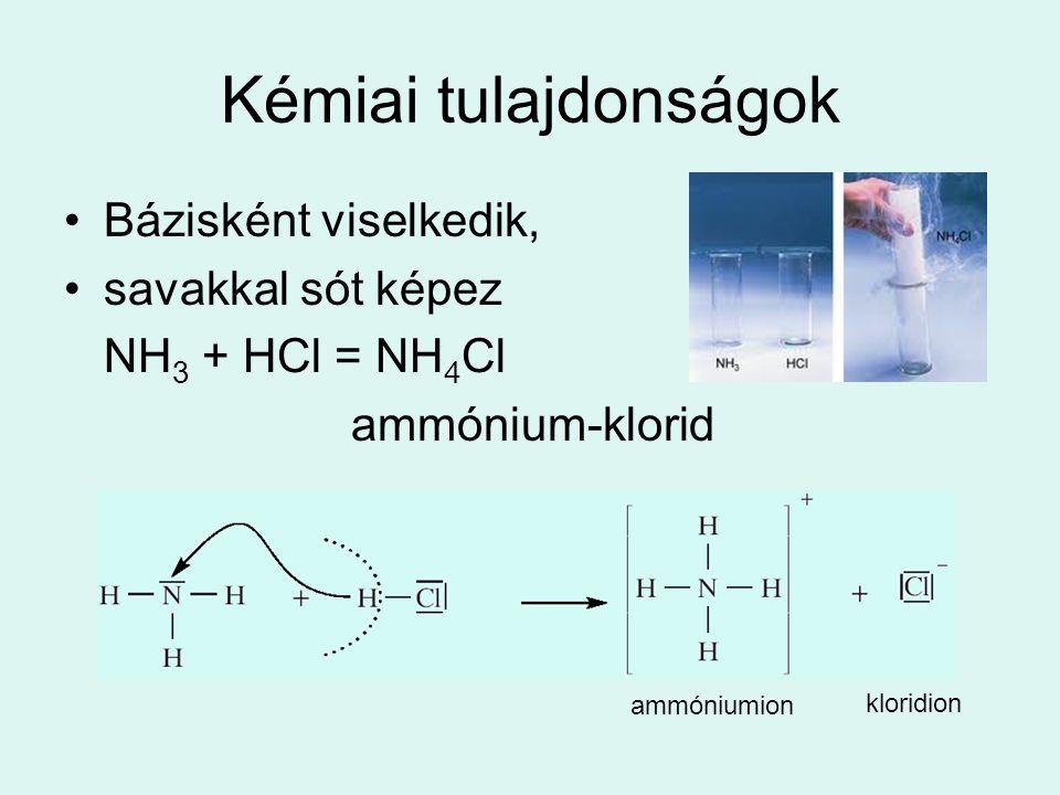 Kémiai tulajdonságok Bázisként viselkedik, savakkal sót képez