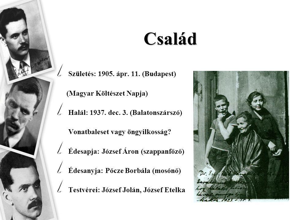 Család Születés: 1905. ápr. 11. (Budapest) (Magyar Költészet Napja)