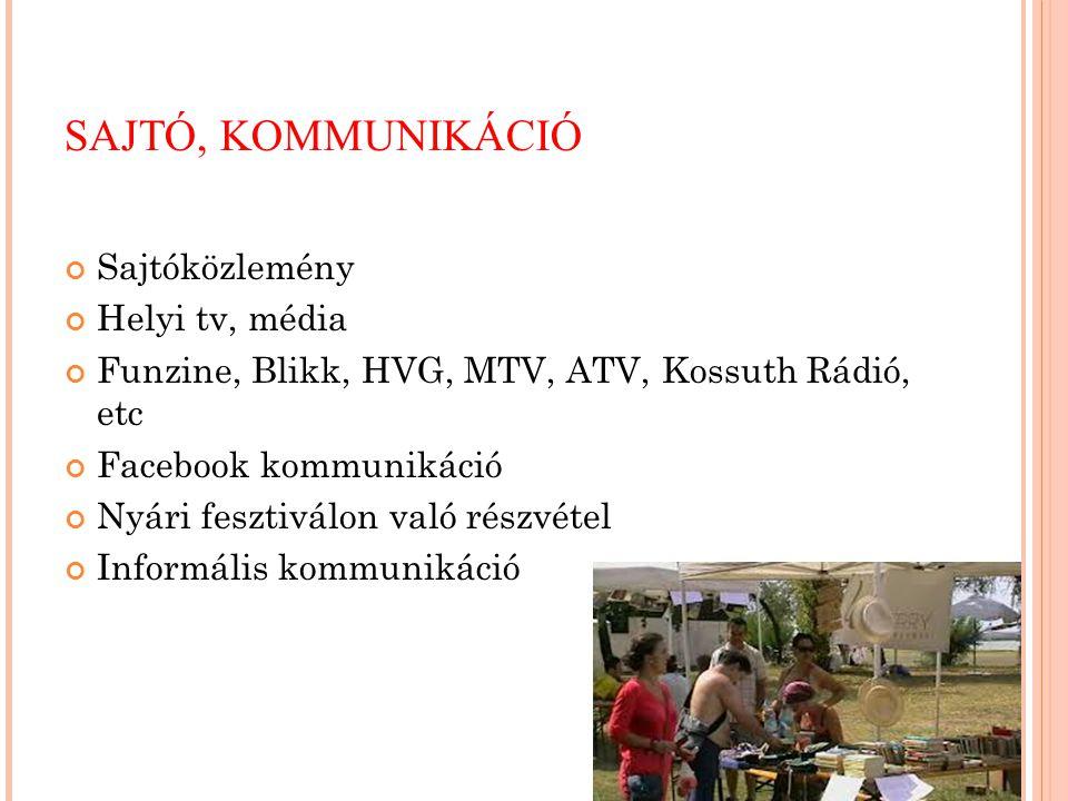 SAJTÓ, KOMMUNIKÁCIÓ Sajtóközlemény Helyi tv, média