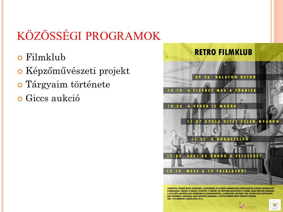 KÖZÖSSÉGI PROGRAMOK Filmklub Képzőművészeti projekt Tárgyaim története