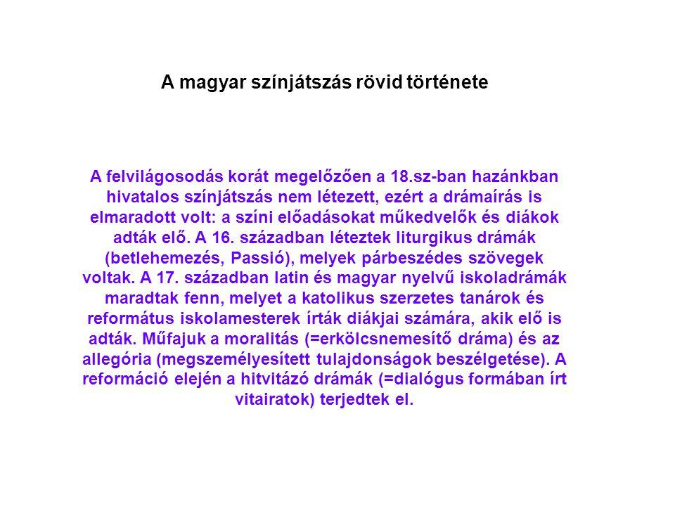 A magyar színjátszás rövid története