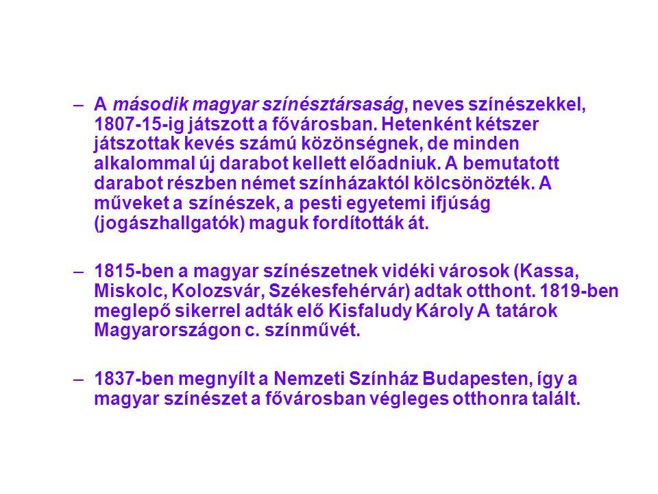A második magyar színésztársaság, neves színészekkel, 1807-15-ig játszott a fővárosban. Hetenként kétszer játszottak kevés számú közönségnek, de minden alkalommal új darabot kellett előadniuk. A bemutatott darabot részben német színházaktól kölcsönözték. A műveket a színészek, a pesti egyetemi ifjúság (jogászhallgatók) maguk fordították át.