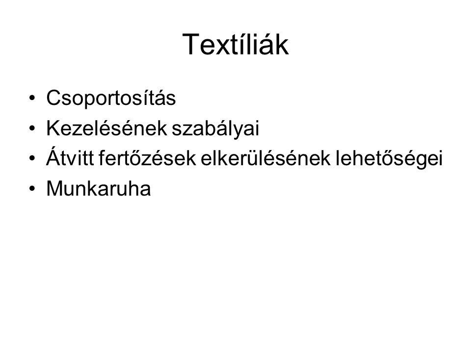 Textíliák Csoportosítás Kezelésének szabályai