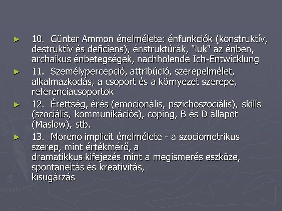 10. Günter Ammon énelmélete: énfunkciók (konstruktív, destruktív és deficiens), énstruktúrák, luk az énben, archaikus énbetegségek, nachholende Ich-Entwicklung