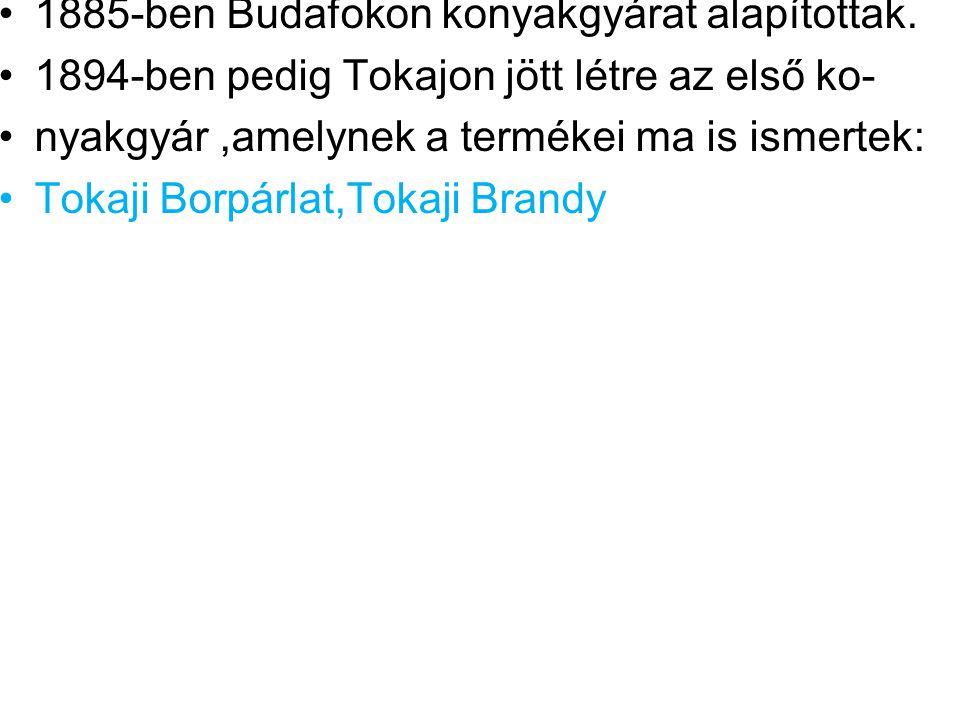 1885-ben Budafokon konyakgyárat alapítottak.