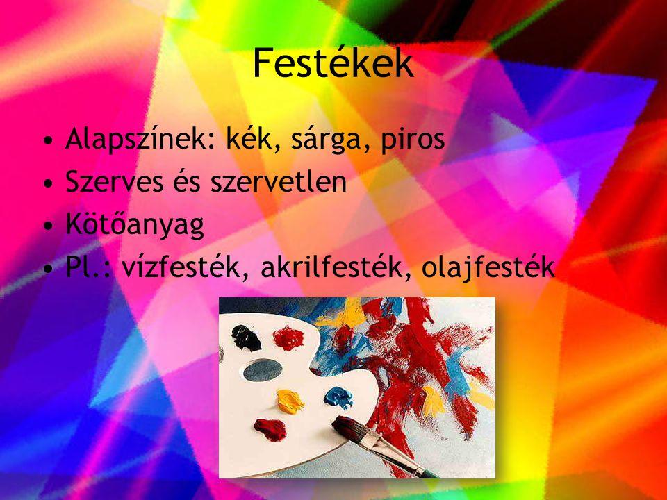Festékek Alapszínek: kék, sárga, piros Szerves és szervetlen Kötőanyag
