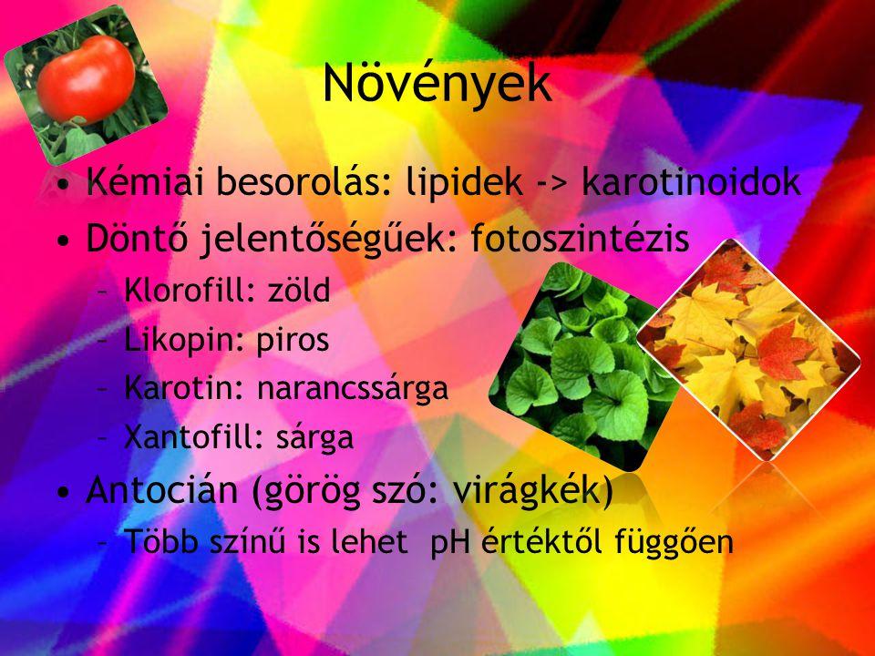 Növények Kémiai besorolás: lipidek -> karotinoidok
